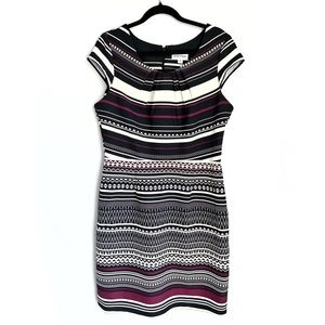 Shelby & Palmer Geometric Striped Cap Sleeve Dress